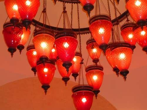 Lamp Lamps Red Arabic Moorish Ceiling Lamp