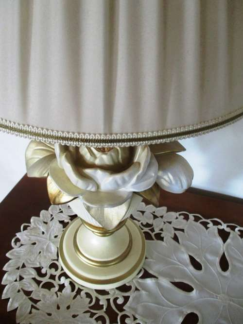 Lamp Table Lamp Socket Rose Motif Porcelain