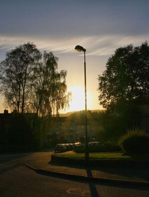 Lamp Post Sunset Street