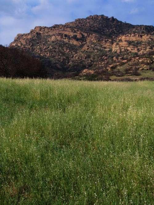 Landscape Chatsworth California Park Grass Rocks