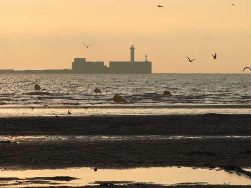 Landscape Sea Sand Wave Rock Sunset Sunshine
