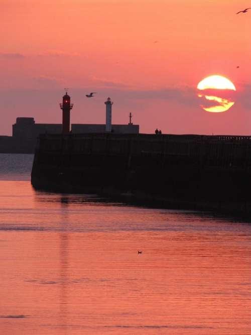 Landscape Sea Lighthouse Wave Sunset Sunshine