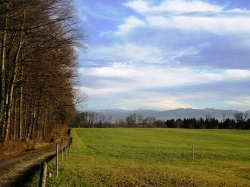 Landscape Sky Clouds Away Meadow Grass Nature