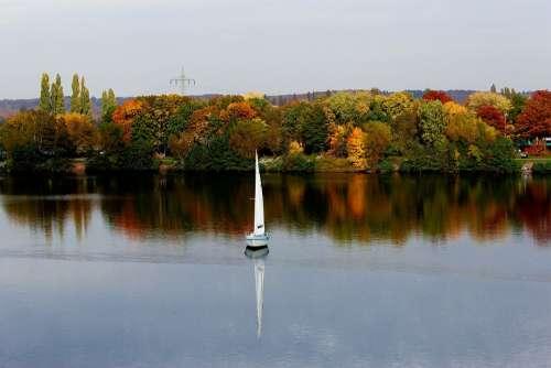 Landscape Water Boat Nature Autumn