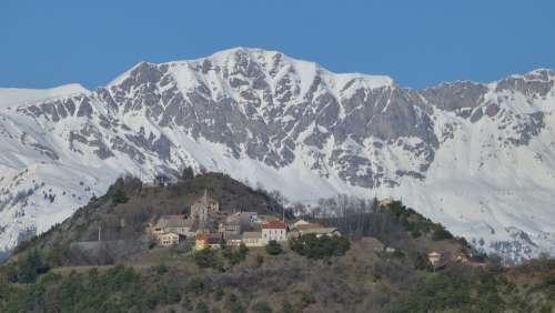 Landscape Mountain Village Hautes Alpes Panorama