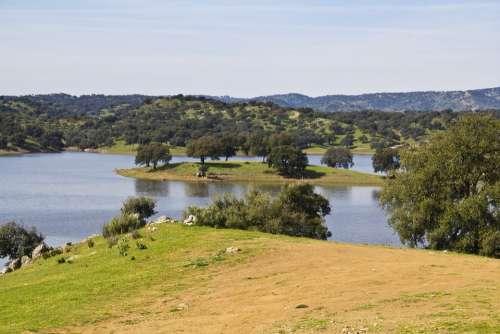 Landscape Seville Sierra Marsh Reservoir Sky Lake