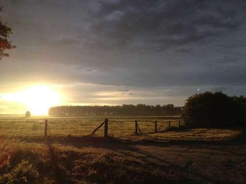 Landscape Germany Evening Sun Reported Sunrise