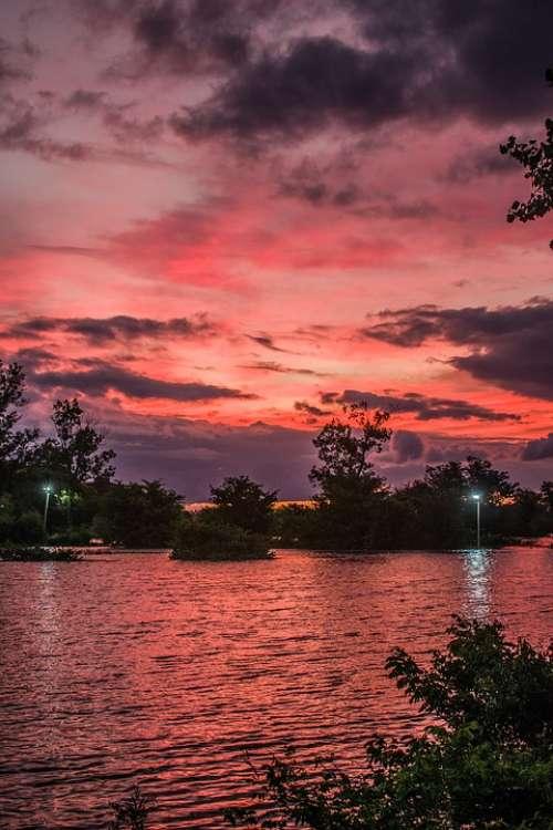 Landscape Sunset Clouds Sky Sun Nature Light