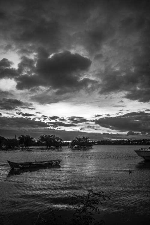 Landscape Sky Boat Nature Clouds Sea Sun Night