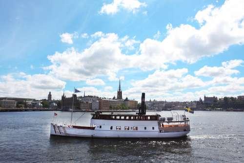 Landscape Boat Stockholm Clouds Sky City Capital