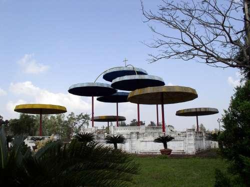 Landscape Umbrella Church Park Round Outdoor