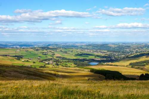 Landscape Holmfirth England Countryside Lake