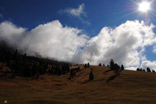 Landscape Mountains Trees Autumn Clouds Sky