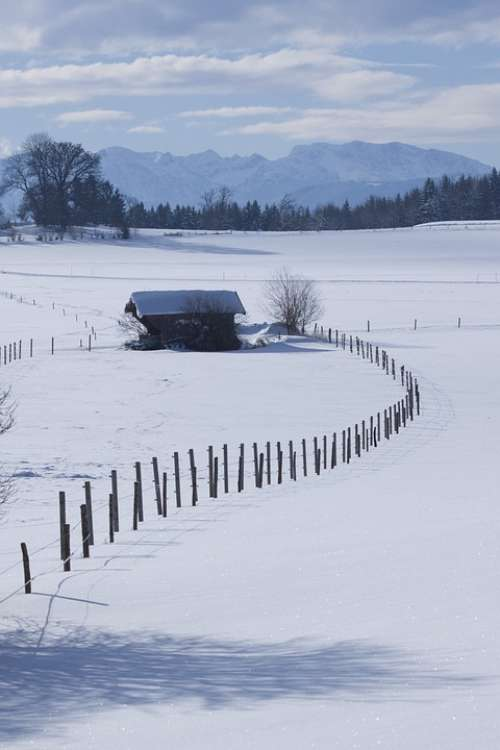 Landscape Mountains Upper Bavaria Winter Blue