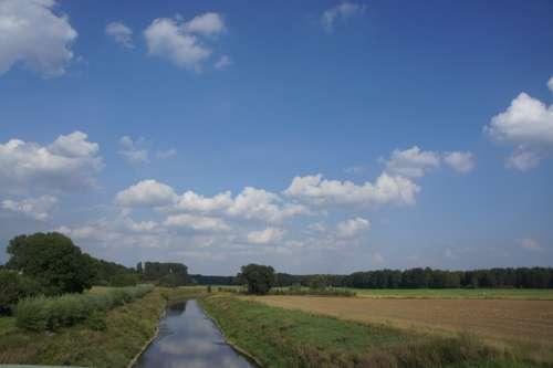 Landscape Blue Clouds Field Summer