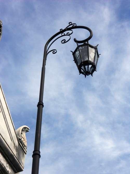 Lantern Street Lamp Iron Sky Light Facade