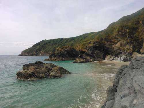 Lantic Bay Cornwall Beach Rock Water Ocean Waves
