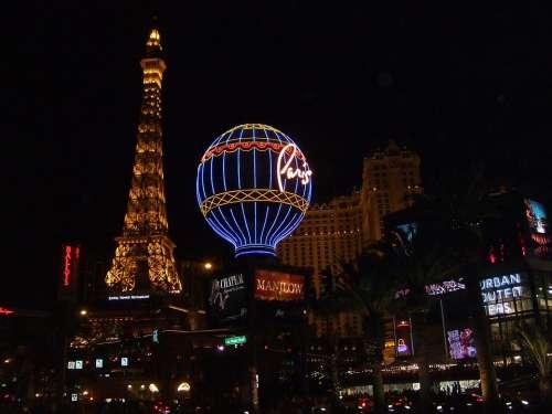 Las Vegas City Eiffel Tower Illuminated Night
