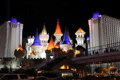 Las Vegas Castle Hotel Gaming Vegas City Colorful