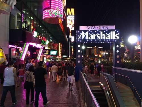 Las Vegas Strip Nevada Night Crowd People America