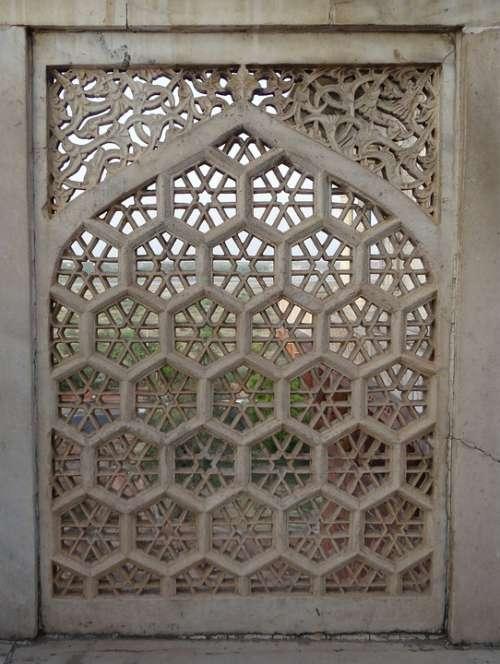 Latticework Marble White Agra Fort Musamman Burj
