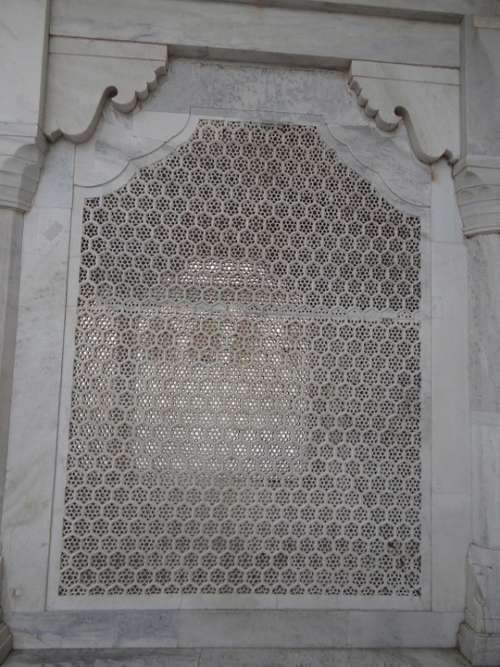 Latticework White Marble Stone Window Architecture