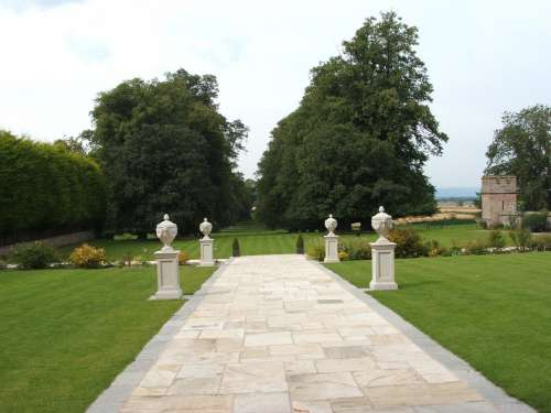 Lawn Pathway Pillars Trees Grass Rowton Castle