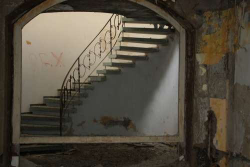 Abandoned Hotel Ruin Stairs Staircase Gradually