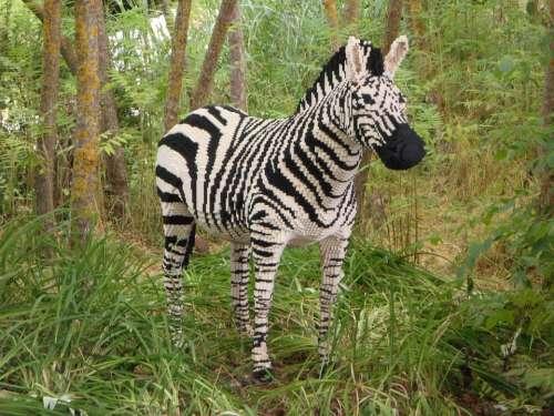 Legoland Replica Sculpture Zebra Safari Africa