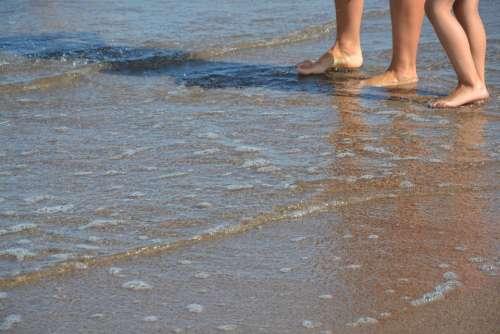 Legs Feet Beach The Stones Pebbles The Baltic Sea