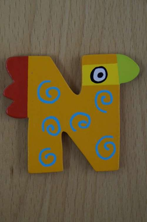 Letter N Abc Colorful Child Children