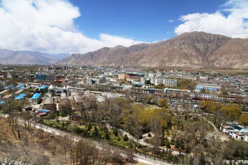 Lhasa Tibet The Potala Palace Blue Sky The Majestic