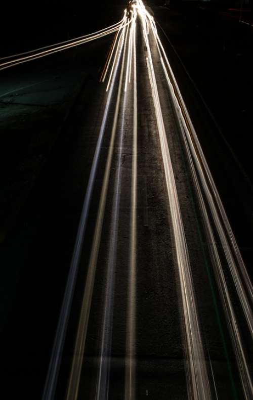Light Motion Long Exposure Highway Traffic Night