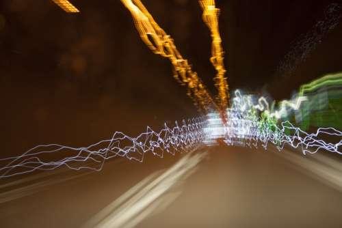 Light Night Speed Dark Autos Road Fast