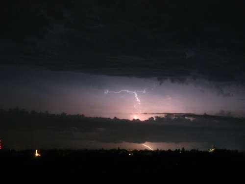 Lightening Storm Night Sky Clouds Thunderstorm
