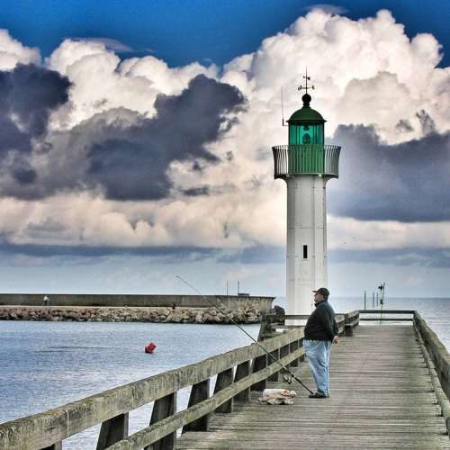 Lighthouse Sky Blue Clouds Water Beach Tower Sea