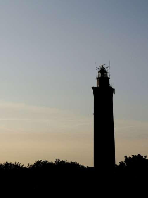 Lighthouse Sunset Evening Silhouette