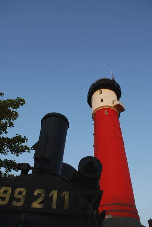 Lighthouse Wangerooge Steam Locomotive Sky Blue