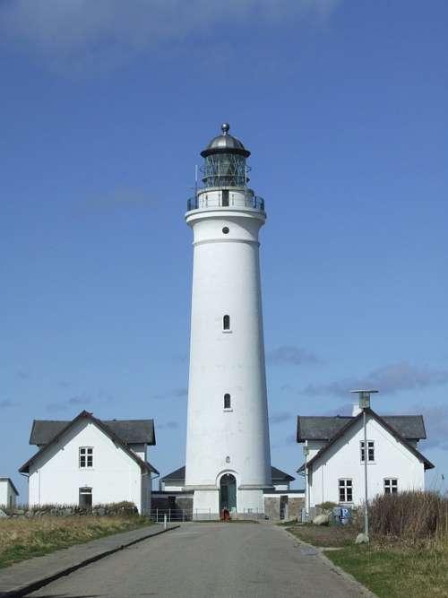 Lighthouse House Houses Blue Blue Sky White Sky