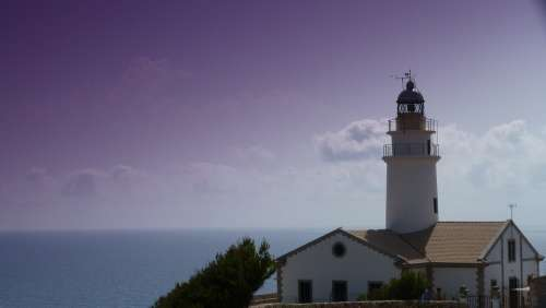 Lighthouse Water Sea Romantic Mediterranean