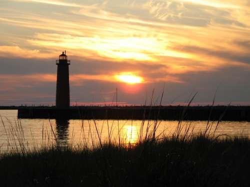 Lighthouse Sky Sunset Beach Lake Michigan