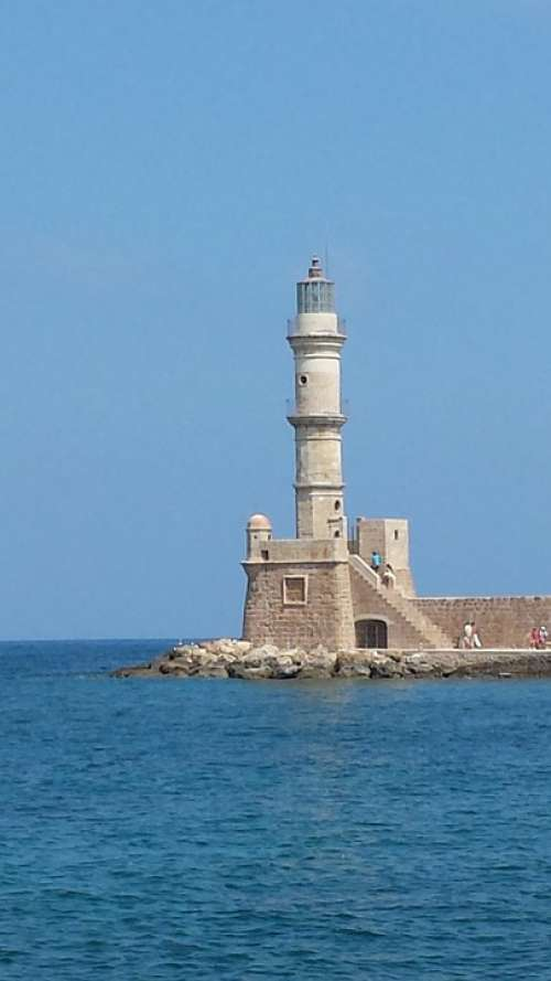 Lighthouse Harbour Entrance Crete Chania