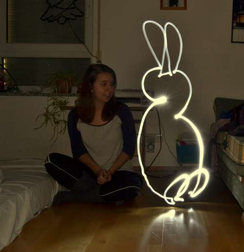 Lightpainting Hare Shining Light