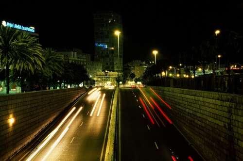 Lights City Night Animation Bus Bridge