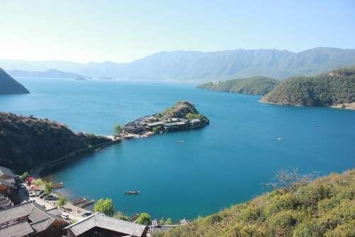 Lijiang Lugu Lake The Scenery Landscape Lake