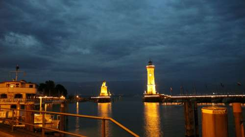 Lindau Port Lighthouse Night Illuminated Idyllic