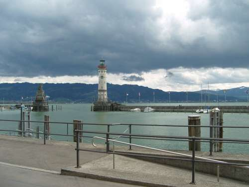 Lindau Port Lake Constance Storm Sky Clouds Mood