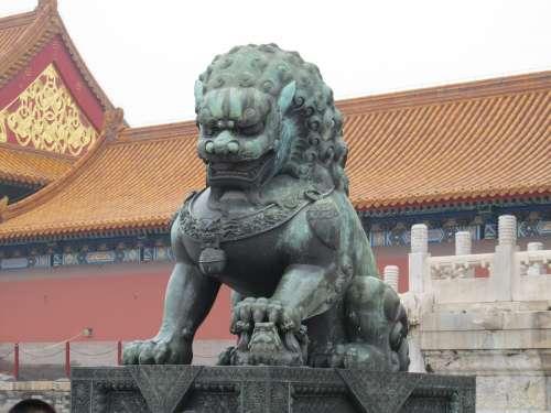 Lion Statue Copper Sculpture Monument China