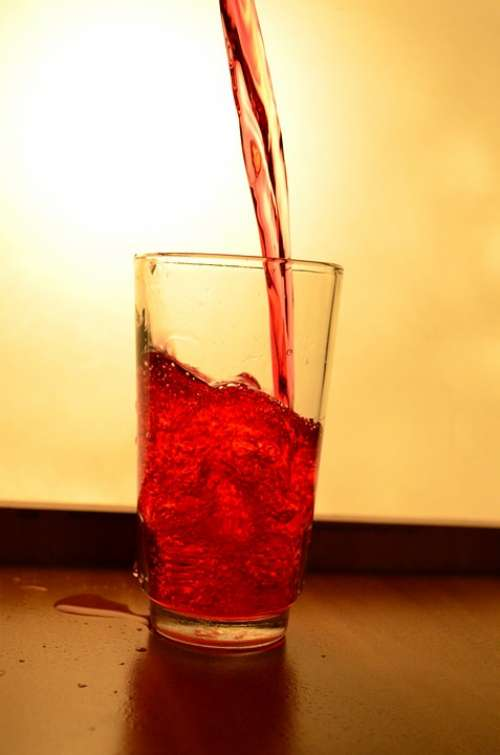 Liquid Red Juice Glass Splash Pouring Alcohol