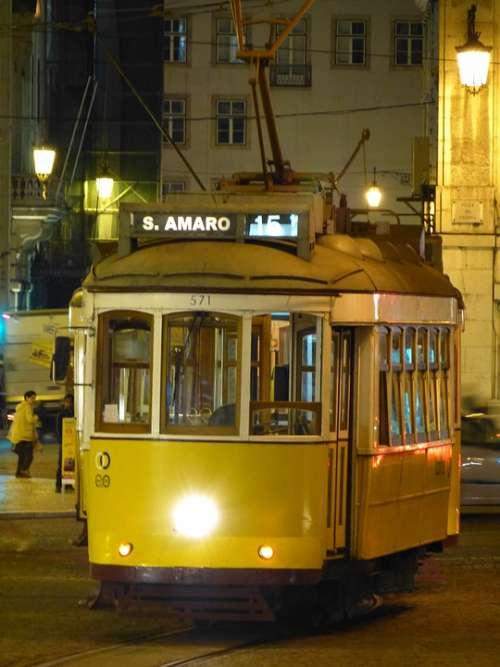 Lisbon Tram Drive Transporting Night At Night
